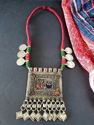 Old Afghanistan Tribal Neckless Local Silver with Coins …beautiful tribal collec