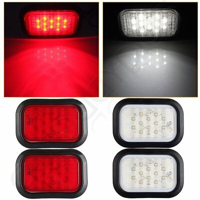 4pcs Red/ White Rectangle 6'' 12 LED Stop/Turn/Tail Truck Light Grommet &Pigtail