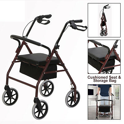 """8"""" Casters Drive Medical Rollator Walker w/Fold Up Back Support Padded Seat Red"""