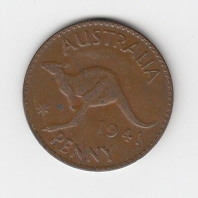 1941P (K.g)  Australia Kgvi Penny - Nice Collectable Vintage Coin