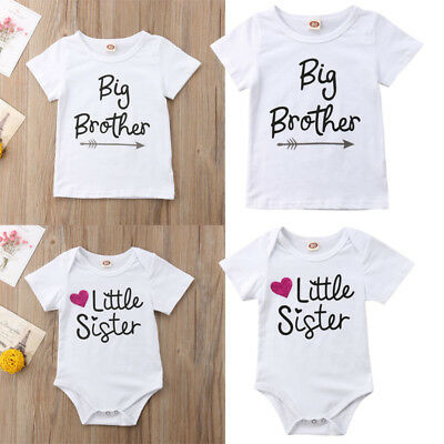 Casual Baby Gril Little Sister Romper Big Brother T-shirt Top Matching Outfits