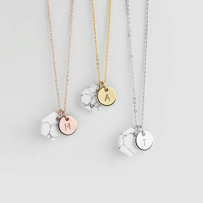 Simple Marble Letter 26 Pendant Necklace Women's Gift Jewelry Chain Round Party
