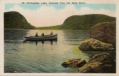 Westmore Vermont  postcard c1915  West Shore  Lake Willoughby VT  Boating Party