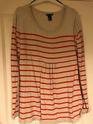 Ladies Maternity Jumper Mama At H&M, Large, Natural With Orange Stripes