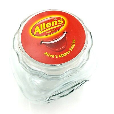 Allens Lolly Jar Allens Makes Smiles Smiley Face Clear Glass 2000s Advertising