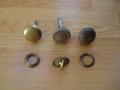 3 Antique Vintage Door Knobs and lock