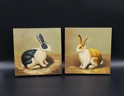 Charming Pair Of Contemporary American Folk Art Rabbit Paintings Primitive Style