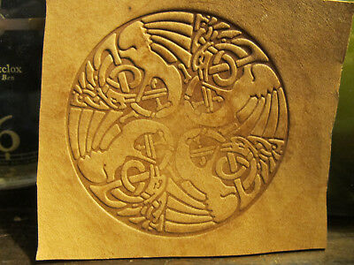 Brass CELTIC BIRDS Round Letterpress Tool Stamp leather embossing die