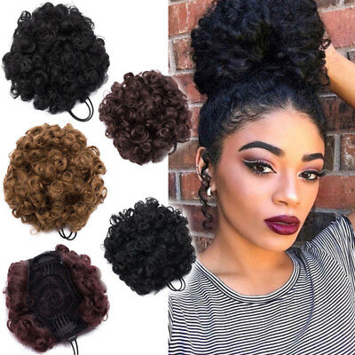 Afro Ponytail Puff Drawstring Wrap Natural Curly Hair Bun Updo Chignon Extneions