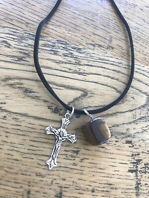 Natural tigers eye stone with Cross black suede religious protection necklace