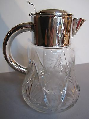 Crystal & Silver Pitcher with Cooler Insert - Early 20th Century - Beautiful!