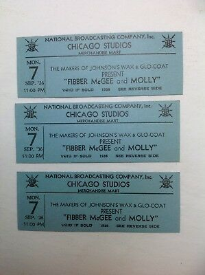 Vintage Radio 1936 Fibber McGEE And Molly Tickets