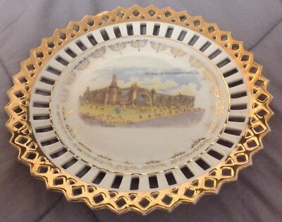 1904 Worlds Fair St. Louis Mo Palace Of Transportation China Plate Souvenir