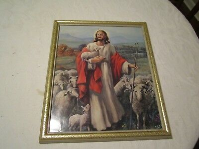 Jesus, The Good Shepherd with Sheep Vincente Roso Wall Art Print Picture Framed