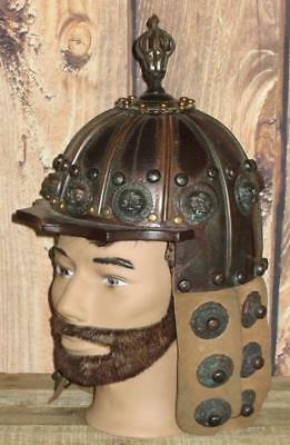 Ancient Medieval Mongol Lion War Helmet Copper Leather Wood Museum Replica