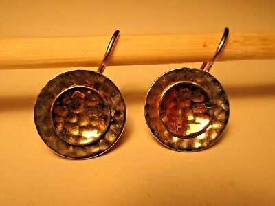 Hand Wrought Signed Sterling Silver & 14K Gold Pierced Earrings