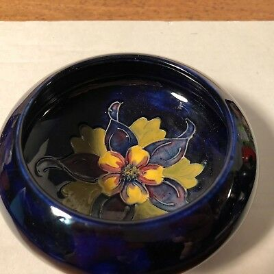 Moorcroft, Rich Cobalt Blue Bonbon Bowl, made in England stamped Moorcroft