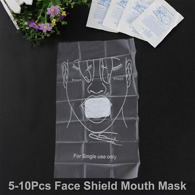 5-10pc CPR Disposable Face Mask-Resuscitation Face Shield-Mouth-Mouth*Free Post*