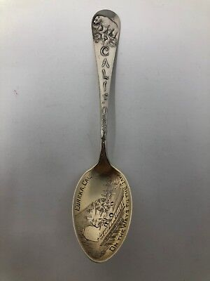 Watson Sterling Souvenir Spoon On the Way to the Saw Eureka California