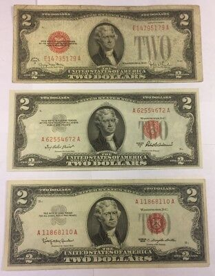 1928 G, 1953 A & 1963 $2 Red Seal - Lot of 3 Old US Notes - United States Notes