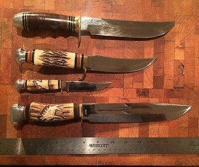 4 Vintage Estate Knives And 3 Sheaths / Knives In Need Of Repair.