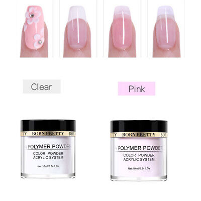 2 Boxes 10ml Pink Clear Acrylic Powder Dust for Nails Tips Manicure BORN PRETTY