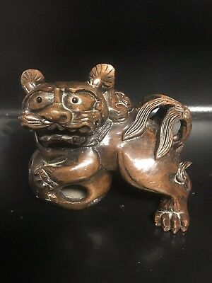 Antique Hand Carved Walnut Wood Foo Dog Lion With Floating Ball in Stand