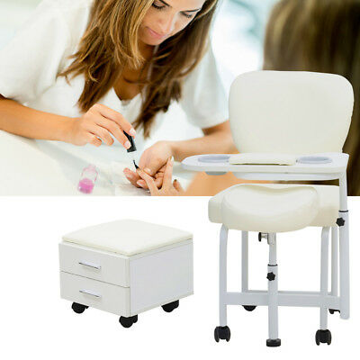 Mobile Manicure Pedicure Nail Art Table Salon Technician Station Desk 2 Drawers