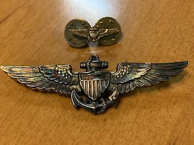 Sterling Silver US Navy Wings WWII Era Great Rainbow Toning Patina