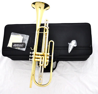 Professional Gold Lacquer Bass Trumpet  Bb 3 Piston Vavles New Horn with Case