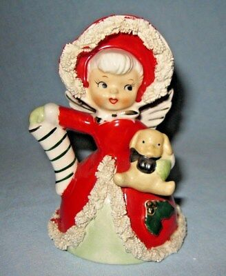 Vintage 1950's Napco Japan Porcelain Christmas Spaghetti Girl Angel Bell