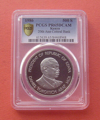Kenya 1986 20th Annv. of the Central Bank 500 Shillings Copper-Nickel PCGS PR65