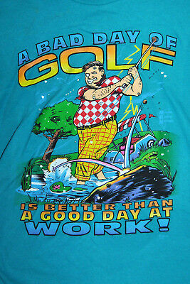 RARE Vintage Signal Mens T-Shirt A BAD DAY OF GOLF IS BETTER sz XL 1980s UNWORN