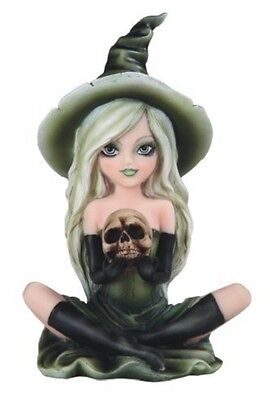"""6.5"""" Green Witch Girl With Skull Statue Halloween Decor Figure Gothic Figurine"""