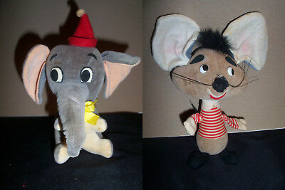 Vintage Disney Plush Sawdust Filled Animals Dumbo & Mouse