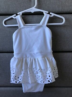 BARDOT BABY JUNIOR White Grill Ruffle Bathers Swimsuit Togs Swimmers 6-9 Mths 00
