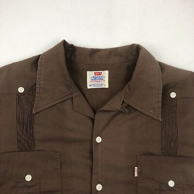 Vintage Levi's 1980's Short Sleeve Button Up Shirt Size Large Brown 4 Pockets