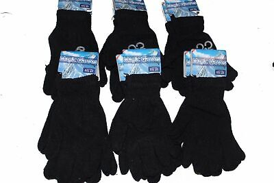 X3 Pair Magic Winter Warm Thermal Gloves Stretch Hands Unisex Black - ADULTS