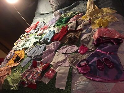 """18"""" Doll Clothes Lot - Dresses, shoes, purses, pajamas, robes, skirts, sweaters"""