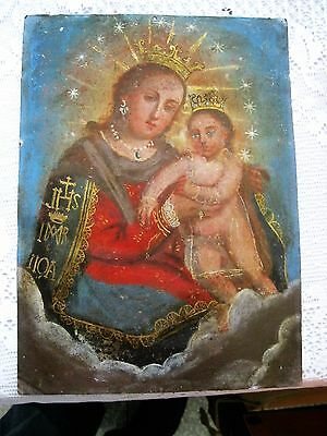 Original Antique Retablo On Tin With The Image Of Our Lady Of Refuge Of Sinners