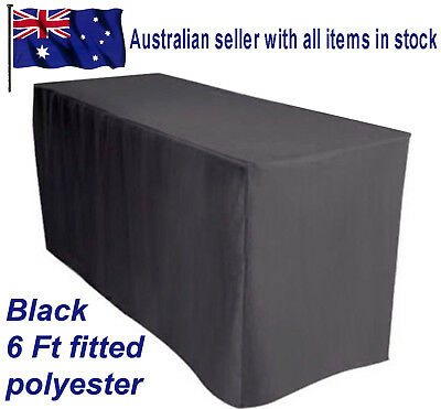 1.8m 6FT Fitted Black Trestle Table Cover Tablecloth Functions Weddings Markets