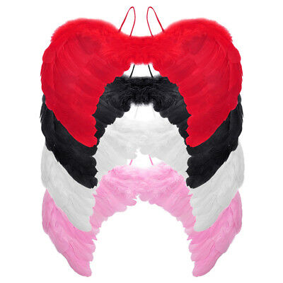 Black White Pink Feather Angel Fairy Wings Stage Performance Dress Gothic AU BM9