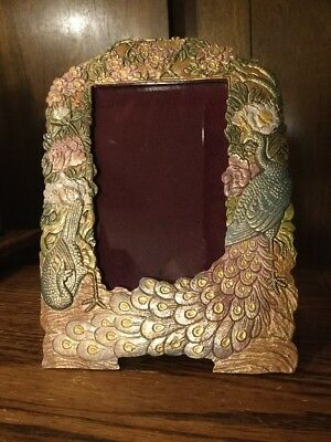 VINTAGE Cast Iron Brass Finish Picture Frame, Stand Up, Stunning Peacocks NICE