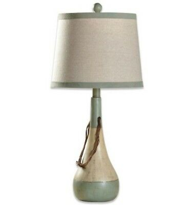 Bouy Coastal Table Lamp w/ Beige Fabric Shade Solid Green Resin Base Corded 60W