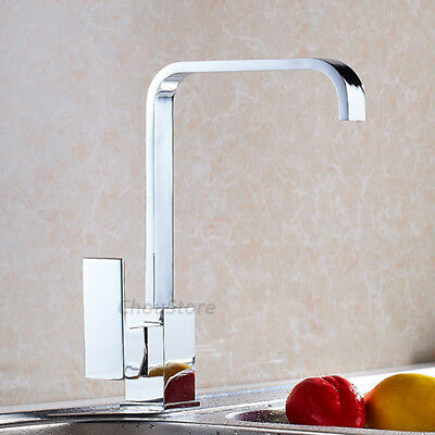Chrome Square Waterfall Kitchen Faucet Swivel Vessel Sink Hot Cold Mixer Tap