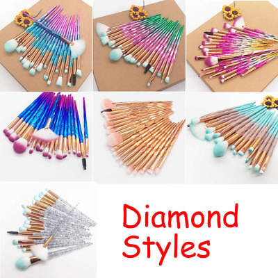 20PCS Unicorn Diamond Make up Brushes Set Foundation Eyeshadow Lip Powder Brush