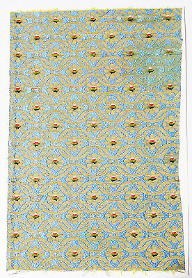 17-18C Chinese Textile Fragment - Flower Pattern, Embroidery