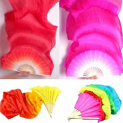 1.8m Hand Made Colorful Belly Dancing Bamboo Long Silk Fans Veils Dance Fan US