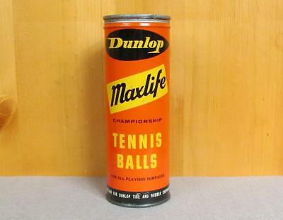 Vintage Dunlop Maxlife Tennis Ball Can 3 Balls Advertising made in England Nice