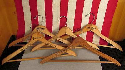 Vintage Antique Wooden Clothing Hangers Group of 5 Reading,PA. area Advertising